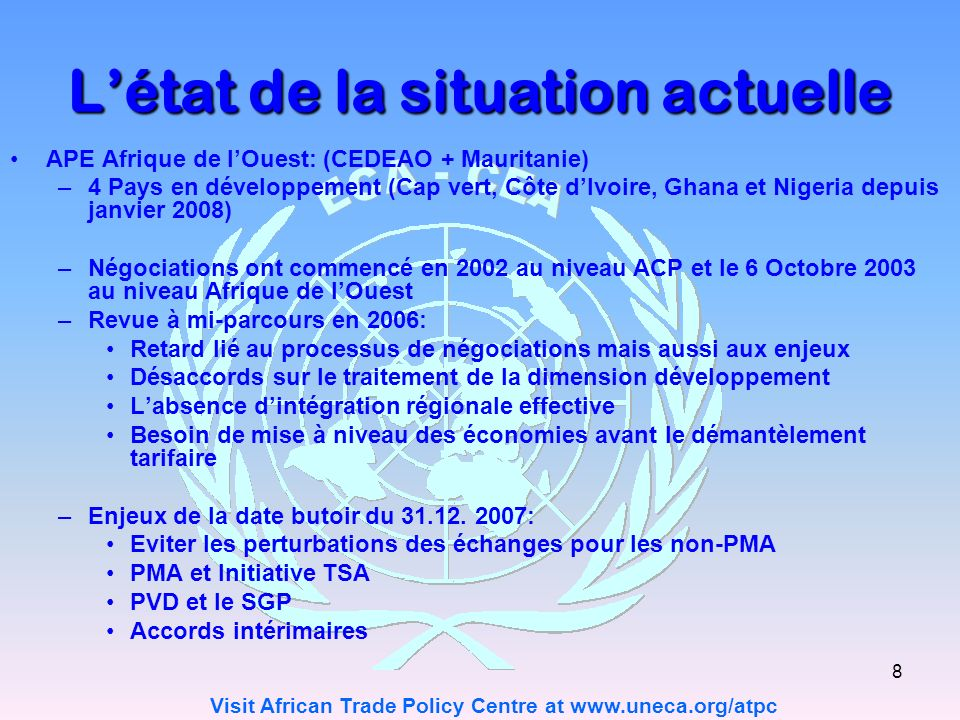 Visit African Trade Policy Centre at www.uneca.org/atpc 19 Je vous remercie de votre aimable attention.