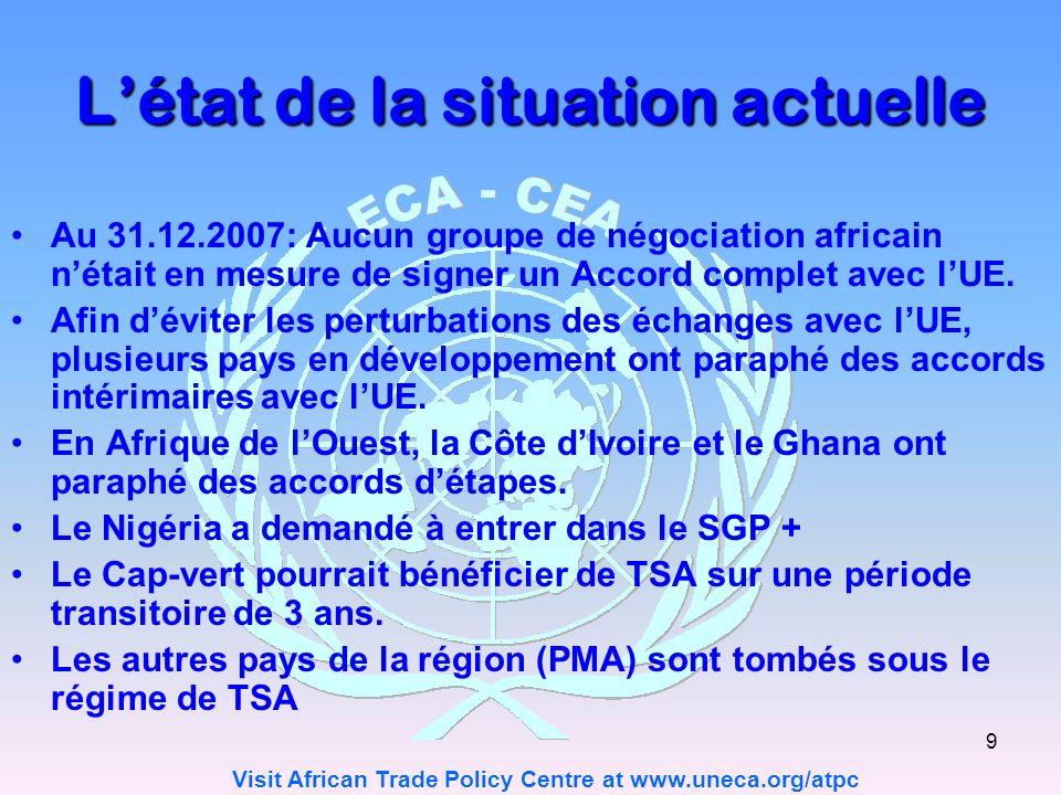 Visit African Trade Policy Centre at www.uneca.org/atpc 9 Létat de la situation actuelle Au 31.12.2007: Aucun groupe de négociation africain nétait en mesure de signer un Accord complet avec lUE.
