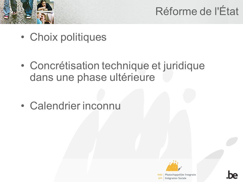 Réforme de l'État Choix politiques Concrétisation technique et juridique dans une phase ultérieure Calendrier inconnu