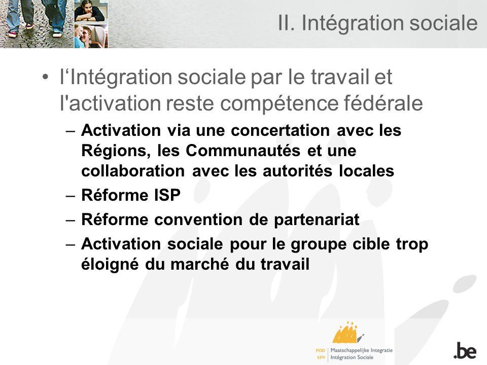II. Intégration sociale lIntégration sociale par le travail et l'activation reste compétence fédérale –Activation via une concertation avec les Région