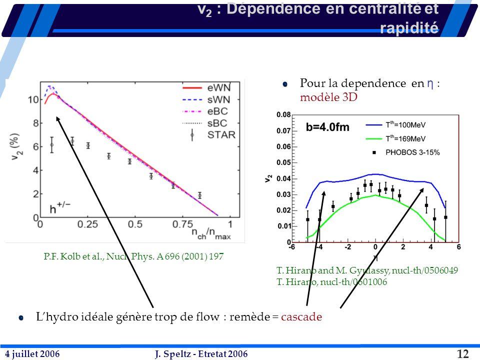 4 juillet 2006J. Speltz - Etretat 2006 12 v 2 : Dépendence en centralité et rapidité P.F.