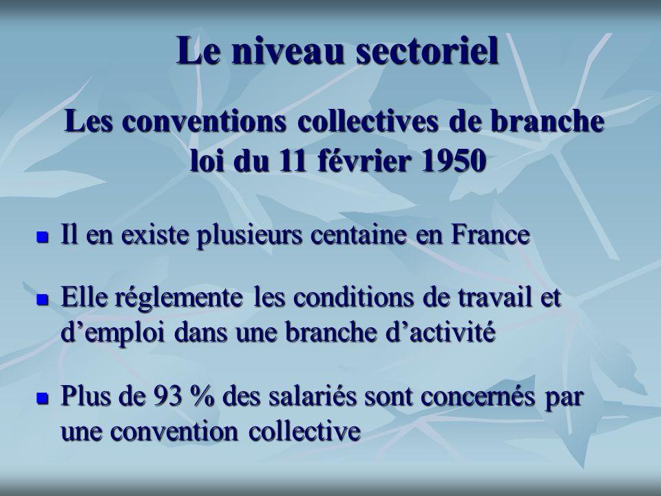 Le niveau sectoriel Elle réglemente les conditions de travail et demploi dans une branche dactivité Elle réglemente les conditions de travail et dempl