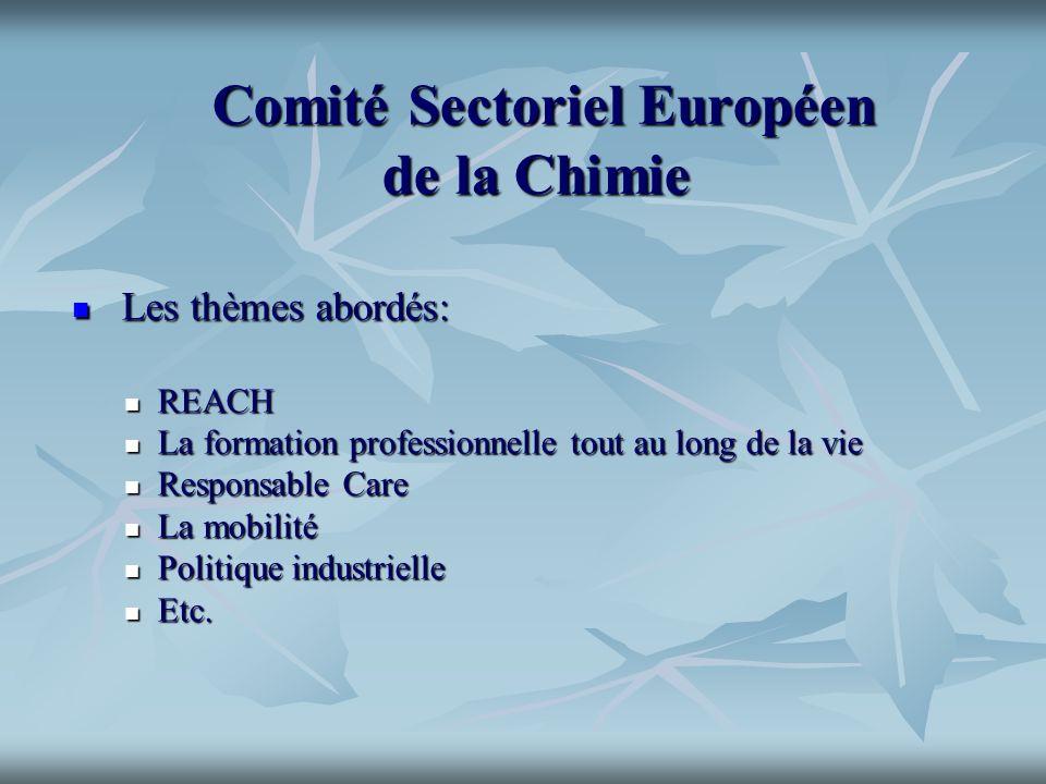 Comité Sectoriel Européen de la Chimie Comité Sectoriel Européen de la Chimie Les thèmes abordés: Les thèmes abordés: REACH REACH La formation profess