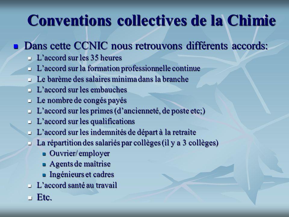 Conventions collectives de la Chimie Conventions collectives de la Chimie Dans cette CCNIC nous retrouvons différents accords: Dans cette CCNIC nous r