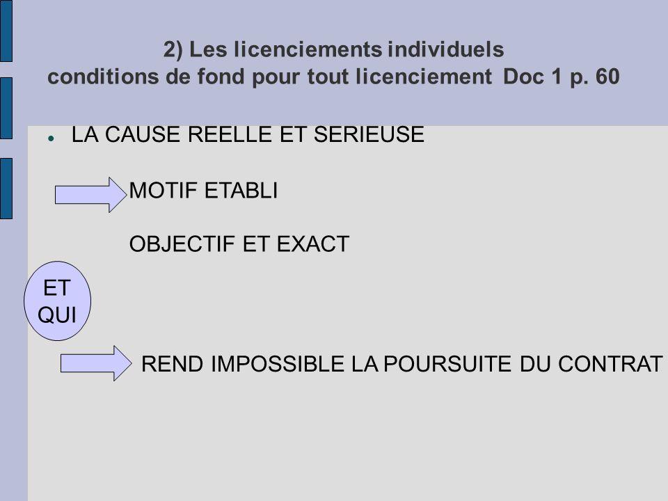2) Les licenciements individuels conditions de fond pour tout licenciement Doc 1 p.