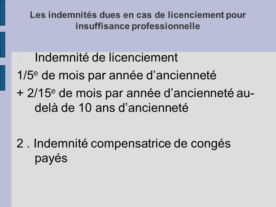 Les indemnités dues en cas de licenciement pour insuffisance professionnelle 1.