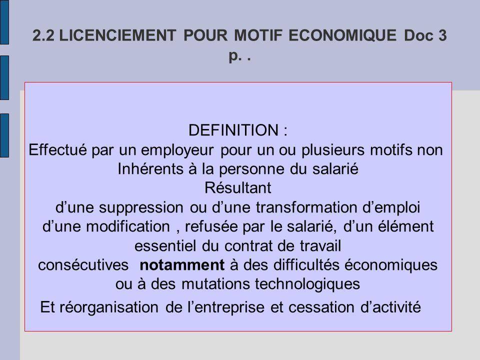 2.2 LICENCIEMENT POUR MOTIF ECONOMIQUE Doc 3 p..