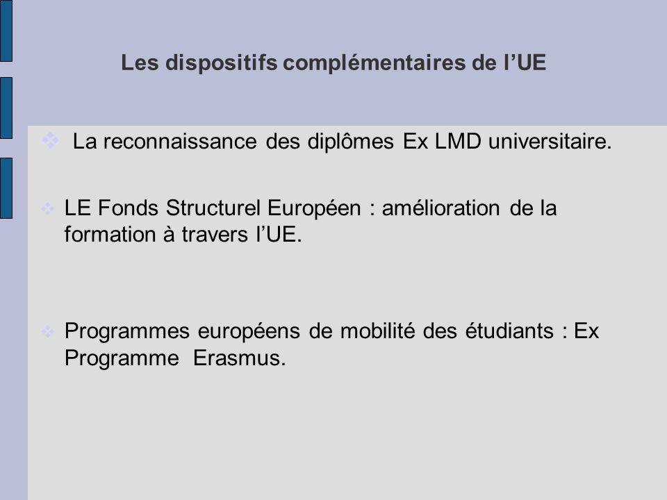Les dispositifs complémentaires de lUE La reconnaissance des diplômes Ex LMD universitaire.