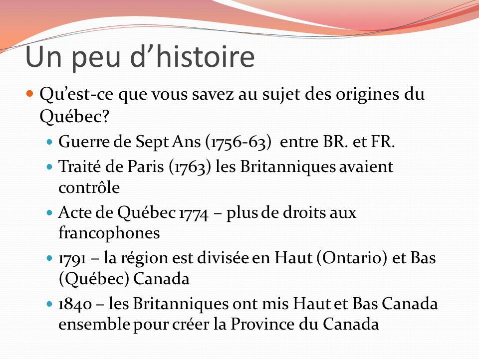 Un peu dhistoire Quest-ce que vous savez au sujet des origines du Québec? Guerre de Sept Ans (1756-63) entre BR. et FR. Traité de Paris (1763) les Bri