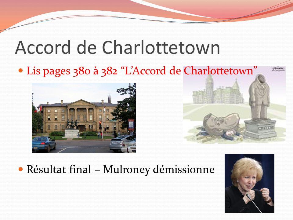 Accord de Charlottetown Lis pages 380 à 382 LAccord de Charlottetown Résultat final – Mulroney démissionne
