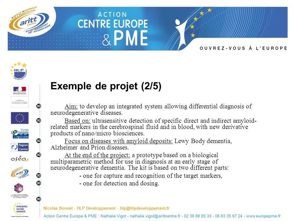 Nicolas Bonnet - HLP Développement - hlp@hlpdeveloppement.fr Exemple de projet (2/5) Aim: to develop an integrated system allowing differential diagnosis of neurodegenerative diseases.