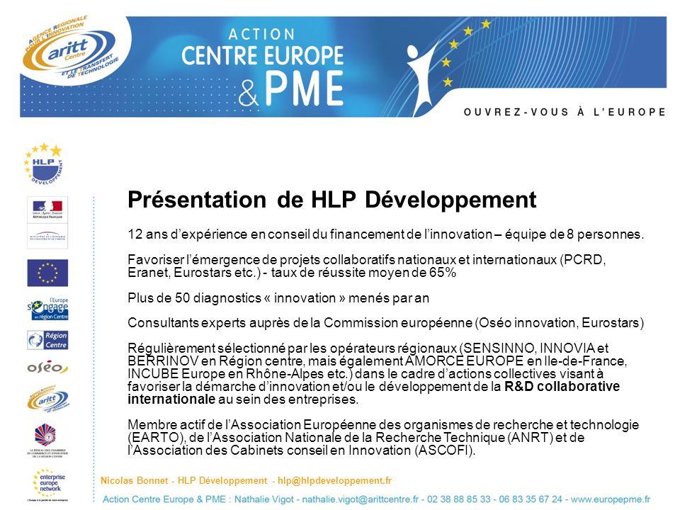 Présentation de HLP Développement 12 ans dexpérience en conseil du financement de linnovation – équipe de 8 personnes.
