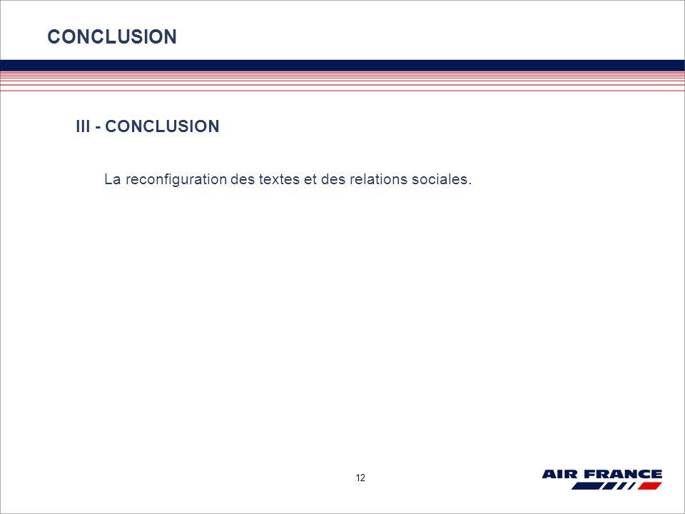 12 CONCLUSION III - CONCLUSION La reconfiguration des textes et des relations sociales.