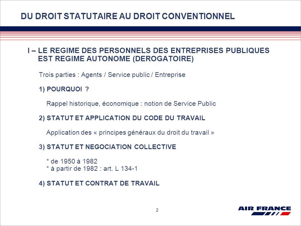2 I – LE REGIME DES PERSONNELS DES ENTREPRISES PUBLIQUES EST REGIME AUTONOME (DEROGATOIRE) Trois parties : Agents / Service public / Entreprise 1) POU