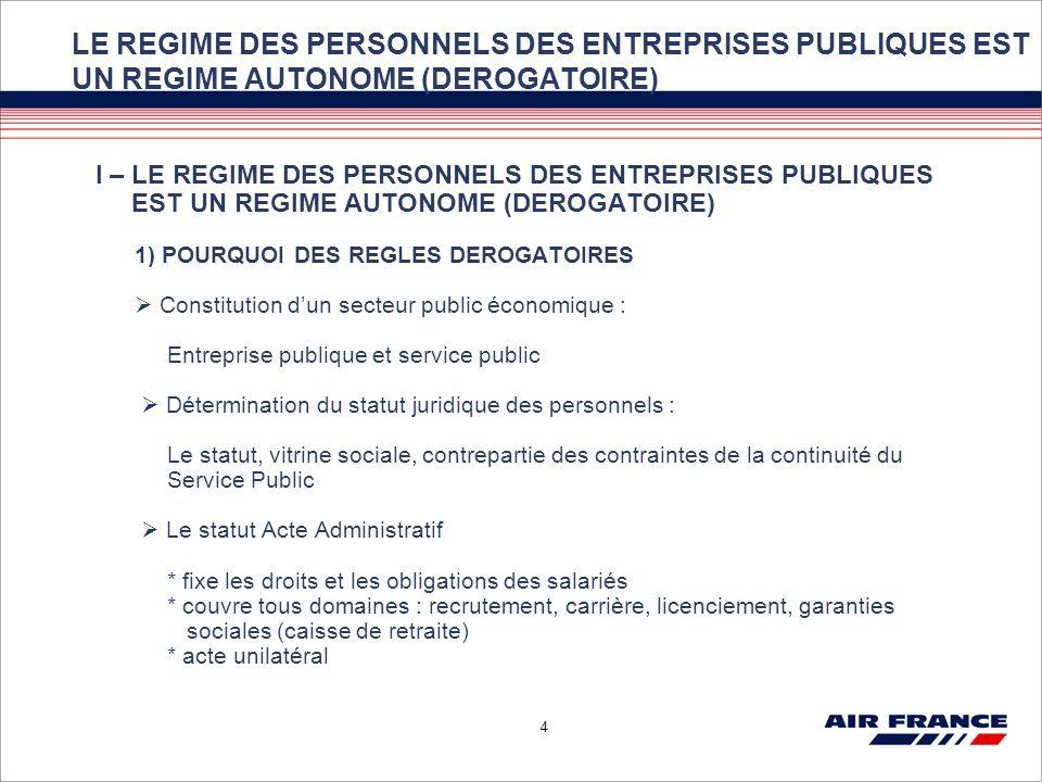 4 LE REGIME DES PERSONNELS DES ENTREPRISES PUBLIQUES EST UN REGIME AUTONOME (DEROGATOIRE) I – LE REGIME DES PERSONNELS DES ENTREPRISES PUBLIQUES EST U