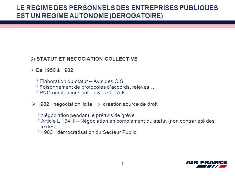 6 LE REGIME DES PERSONNELS DES ENTREPRISES PUBLIQUES EST UN REGIME AUTONOME (DEROGATOIRE) 3) STATUT ET NEGOCIATION COLLECTIVE De 1950 à 1982 * Elabora