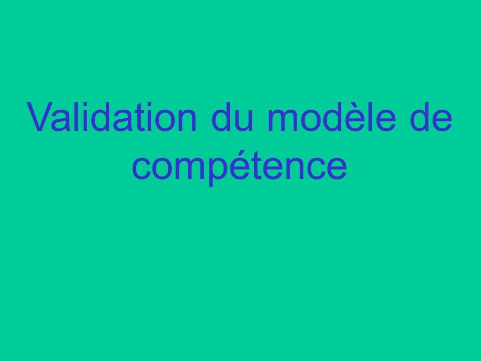 Validation du modèle de compétence