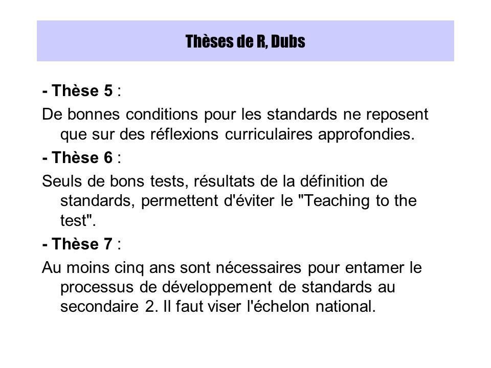 Thèses de R, Dubs - Thèse 5 : De bonnes conditions pour les standards ne reposent que sur des réflexions curriculaires approfondies.