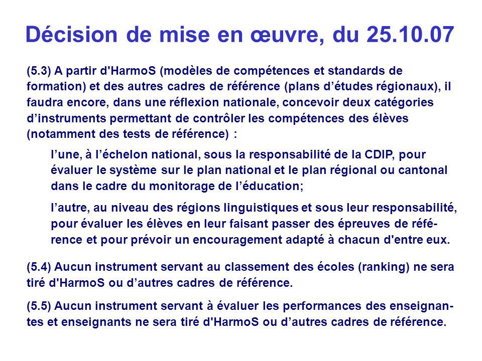 (5.3) A partir d HarmoS (modèles de compétences et standards de formation) et des autres cadres de référence (plans détudes régionaux), il faudra encore, dans une réflexion nationale, concevoir deux catégories dinstruments permettant de contrôler les compétences des élèves (notamment des tests de référence) : lune, à léchelon national, sous la responsabilité de la CDIP, pour évaluer le système sur le plan national et le plan régional ou cantonal dans le cadre du monitorage de léducation; lautre, au niveau des régions linguistiques et sous leur responsabilité, pour évaluer les élèves en leur faisant passer des épreuves de réfé- rence et pour prévoir un encouragement adapté à chacun d entre eux.