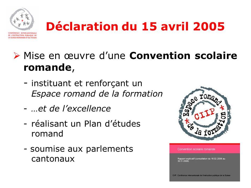 Déclaration du 15 avril 2005 Mise en œuvre dune Convention scolaire romande, - instituant et renforçant un Espace romand de la formation -…et de lexcellence -réalisant un Plan détudes romand - soumise aux parlements cantonaux
