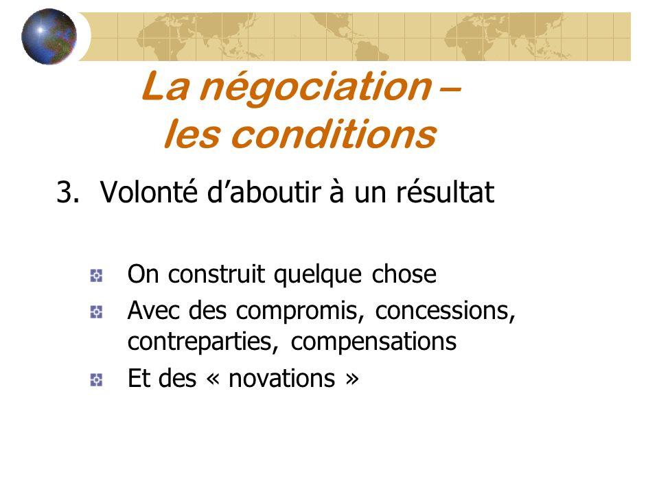 La négociation – les conditions 3.Volonté daboutir à un résultat On construit quelque chose Avec des compromis, concessions, contreparties, compensati
