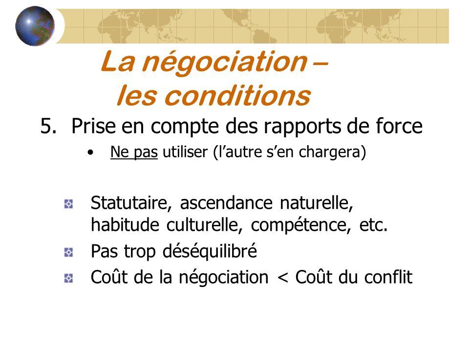 La négociation – les conditions 5.Prise en compte des rapports de force Ne pas utiliser (lautre sen chargera) Statutaire, ascendance naturelle, habitu