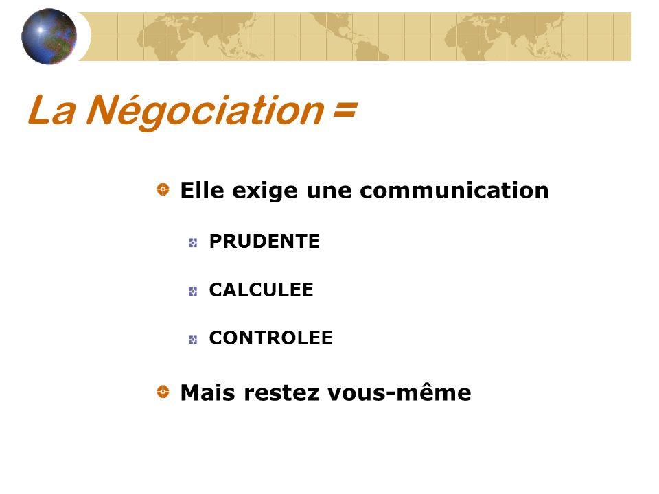 La Négociation = Elle exige une communication PRUDENTE CALCULEE CONTROLEE Mais restez vous-même