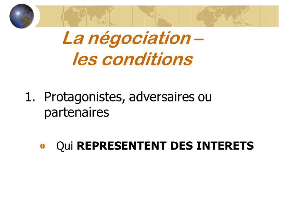 La négociation – les conditions 1.Protagonistes, adversaires ou partenaires Qui REPRESENTENT DES INTERETS