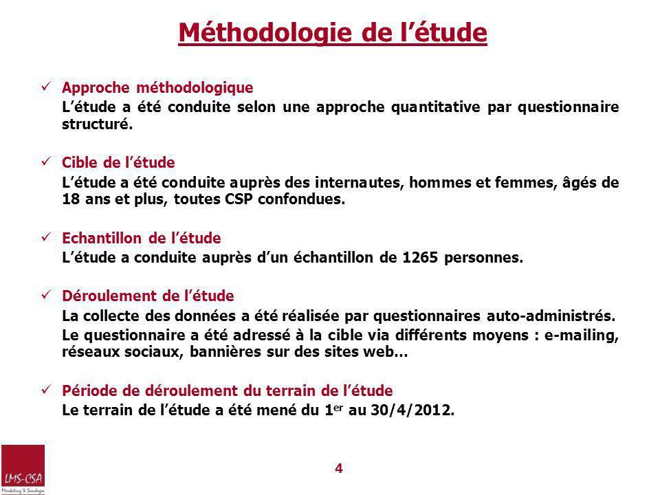 4 Méthodologie de létude Approche méthodologique Létude a été conduite selon une approche quantitative par questionnaire structuré.