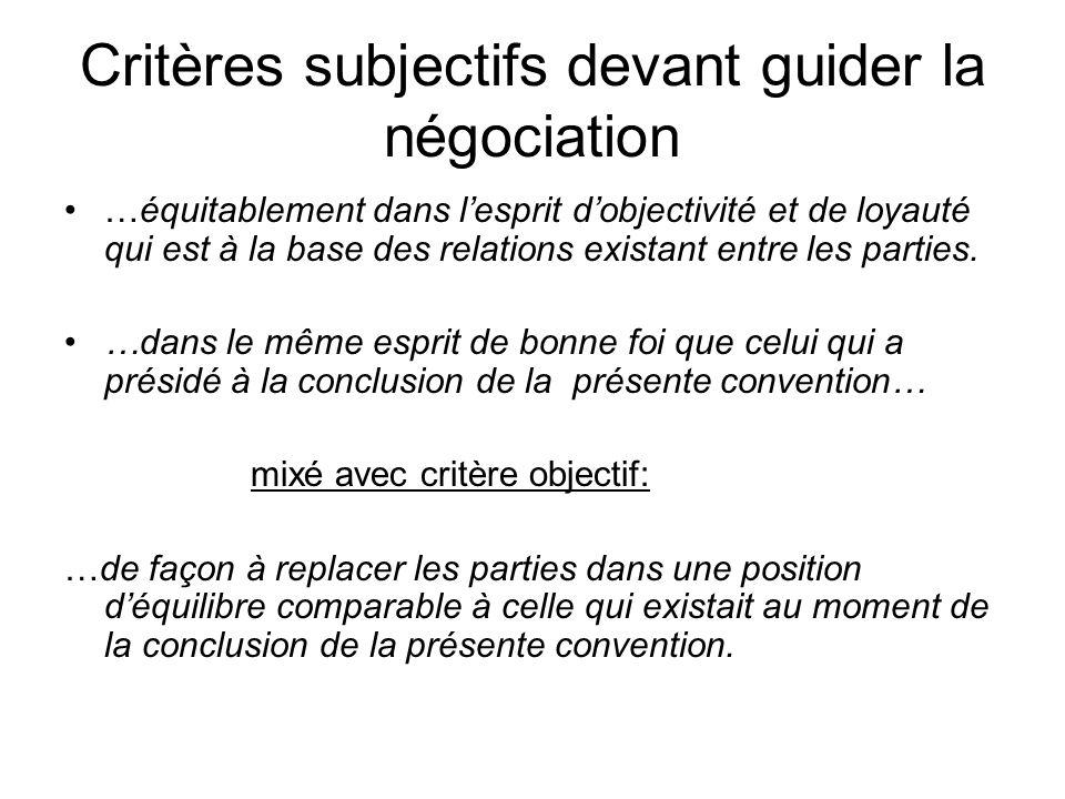 Critères subjectifs devant guider la négociation …équitablement dans lesprit dobjectivité et de loyauté qui est à la base des relations existant entre
