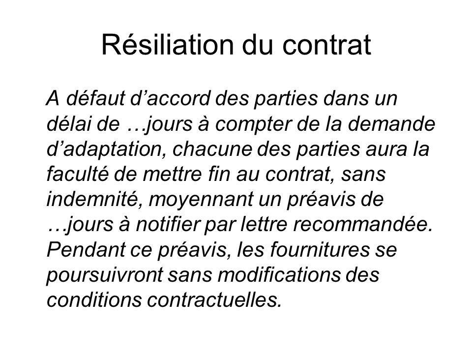 Résiliation du contrat A défaut daccord des parties dans un délai de …jours à compter de la demande dadaptation, chacune des parties aura la faculté d