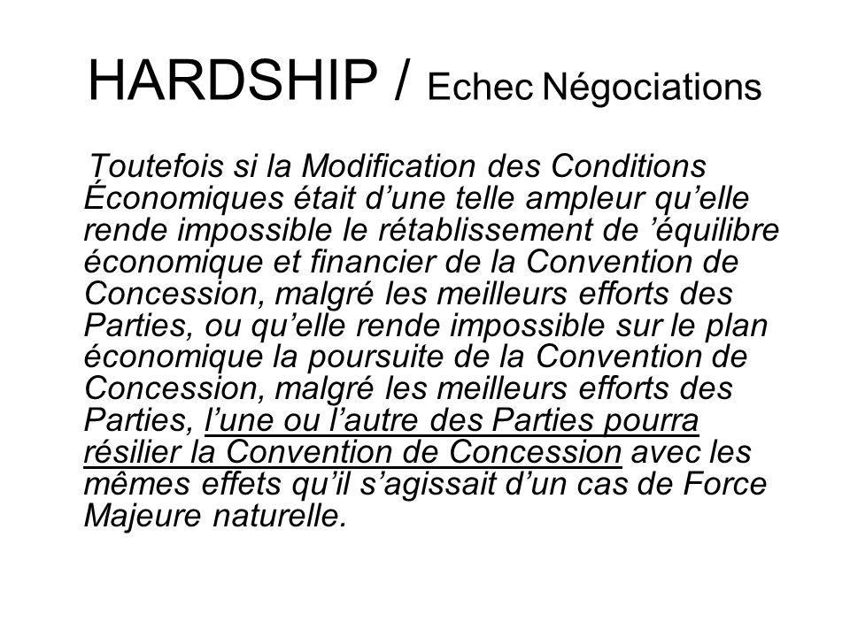 HARDSHIP / Echec Négociations Toutefois si la Modification des Conditions Économiques était dune telle ampleur quelle rende impossible le rétablisseme