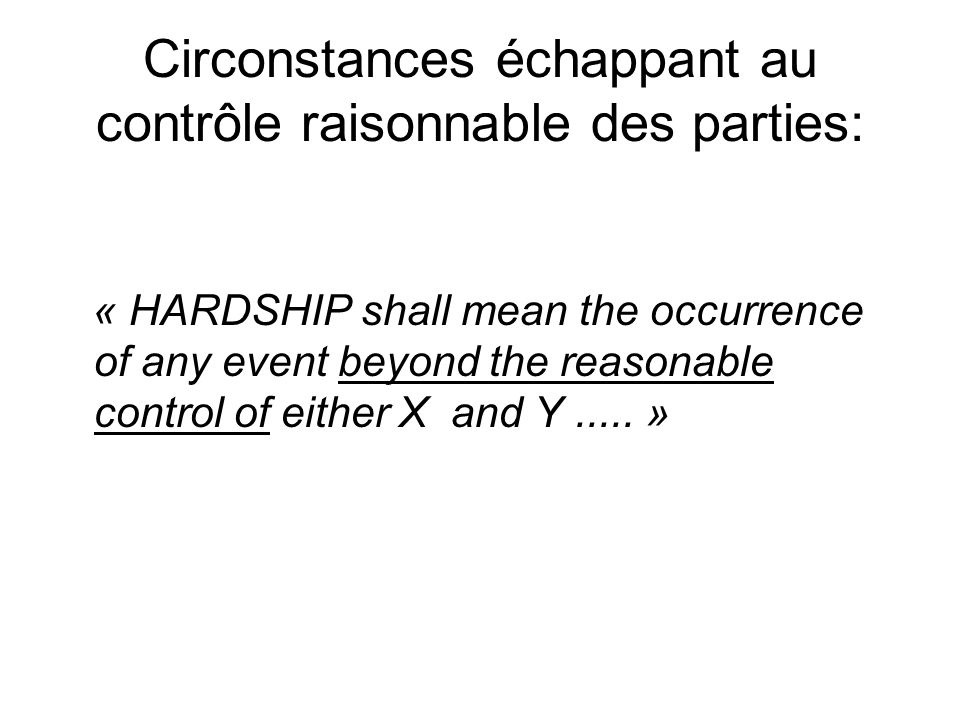 Circonstances échappant au contrôle raisonnable des parties: « HARDSHIP shall mean the occurrence of any event beyond the reasonable control of either