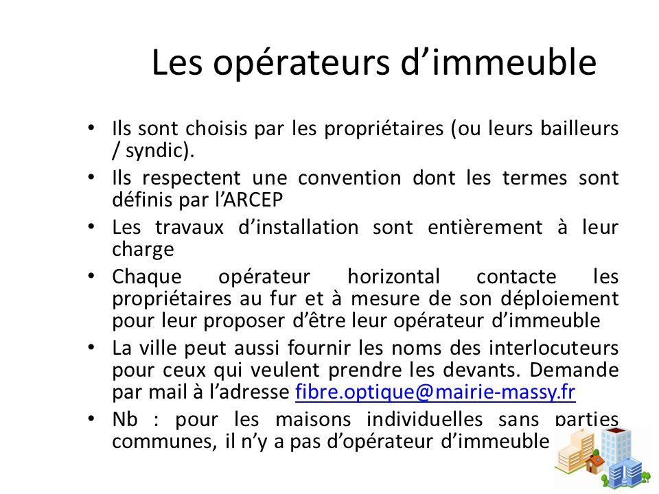 Les opérateurs dimmeuble Ils sont choisis par les propriétaires (ou leurs bailleurs / syndic). Ils respectent une convention dont les termes sont défi