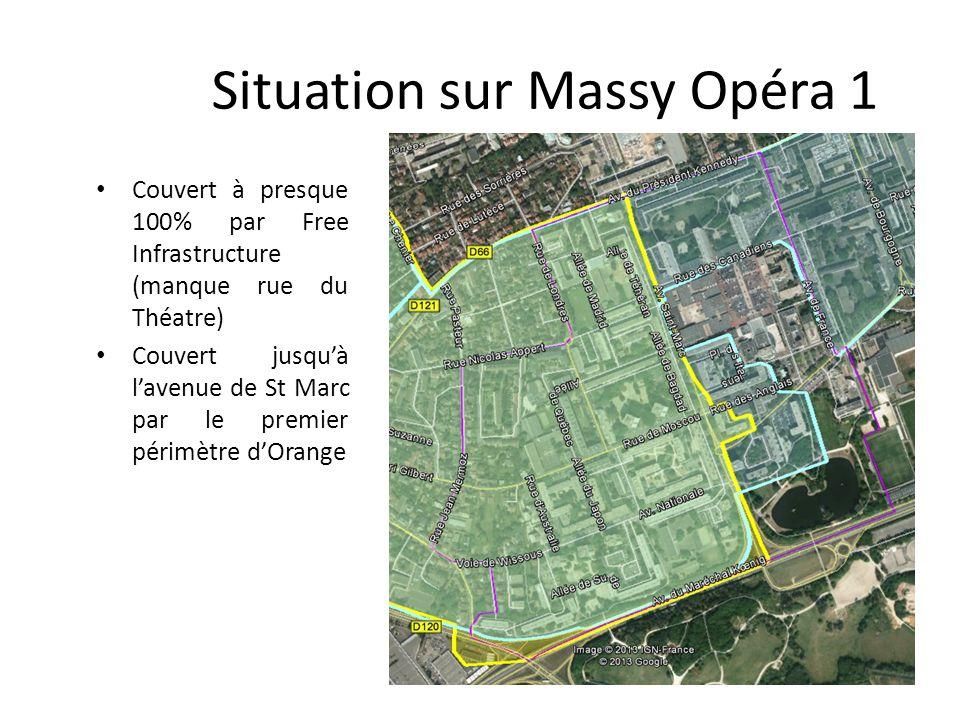 Situation sur Massy Opéra 1 Couvert à presque 100% par Free Infrastructure (manque rue du Théatre) Couvert jusquà lavenue de St Marc par le premier périmètre dOrange