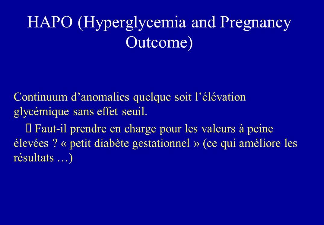 HAPO (Hyperglycemia and Pregnancy Outcome) Continuum danomalies quelque soit lélévation glycémique sans effet seuil.
