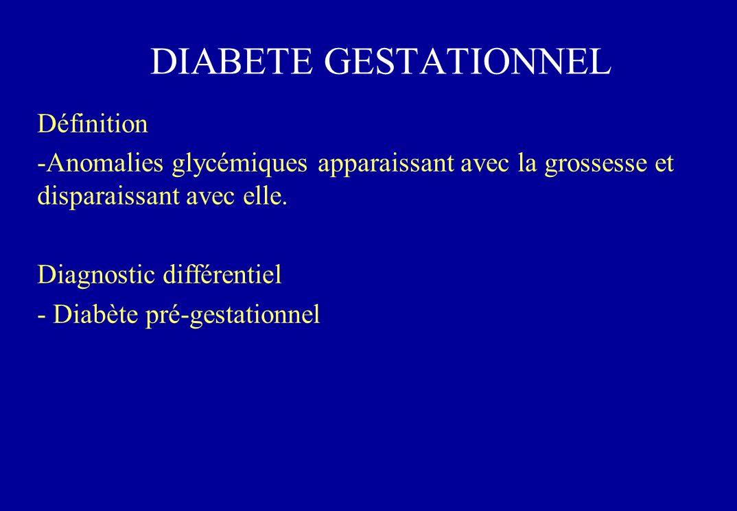 DIABETE GESTATIONNEL Définition -Anomalies glycémiques apparaissant avec la grossesse et disparaissant avec elle.