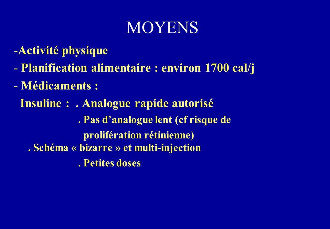 MOYENS -Activité physique - Planification alimentaire : environ 1700 cal/j - Médicaments : Insuline :.