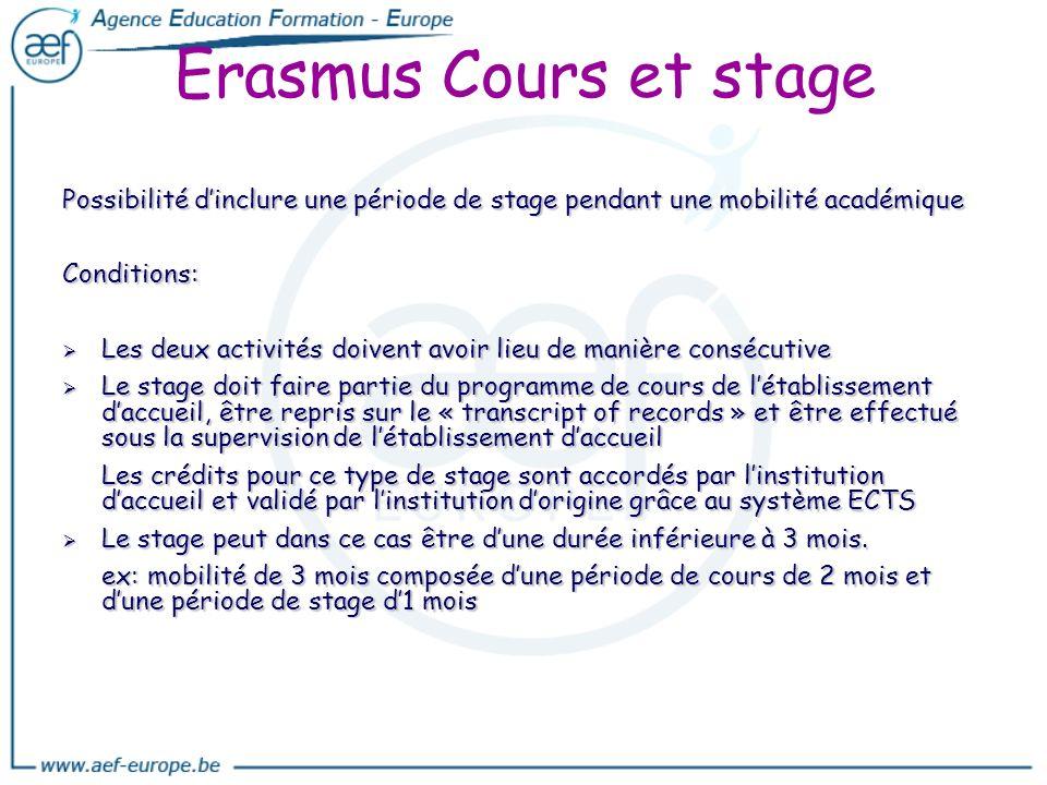Erasmus Cours et stage Possibilité dinclure une période de stage pendant une mobilité académique Conditions: Les deux activités doivent avoir lieu de