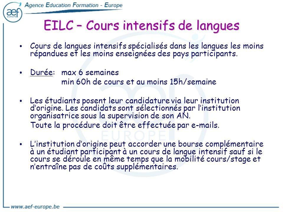 EILC – Cours intensifs de langues Cours de langues intensifs spécialisés dans les langues les moins répandues et les moins enseignées des pays partici