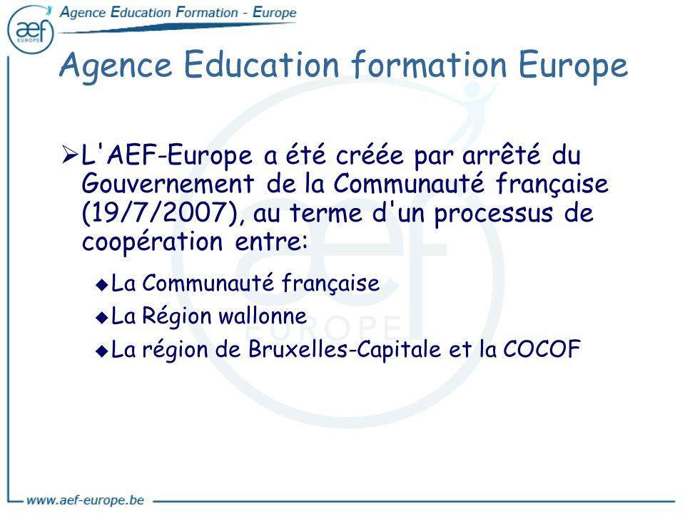 Agence Education formation Europe L'AEF-Europe a été créée par arrêté du Gouvernement de la Communauté française (19/7/2007), au terme d'un processus