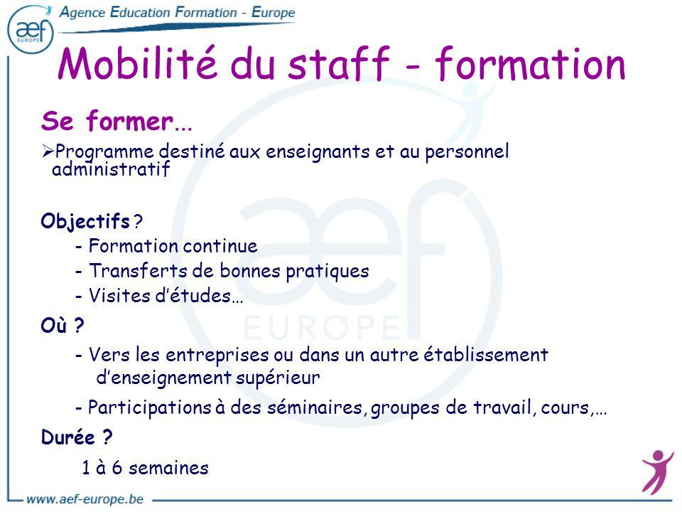 Mobilité du staff - formation Se former... Programme destiné aux enseignants et au personnel administratif Objectifs ? - Formation continue - Transfer