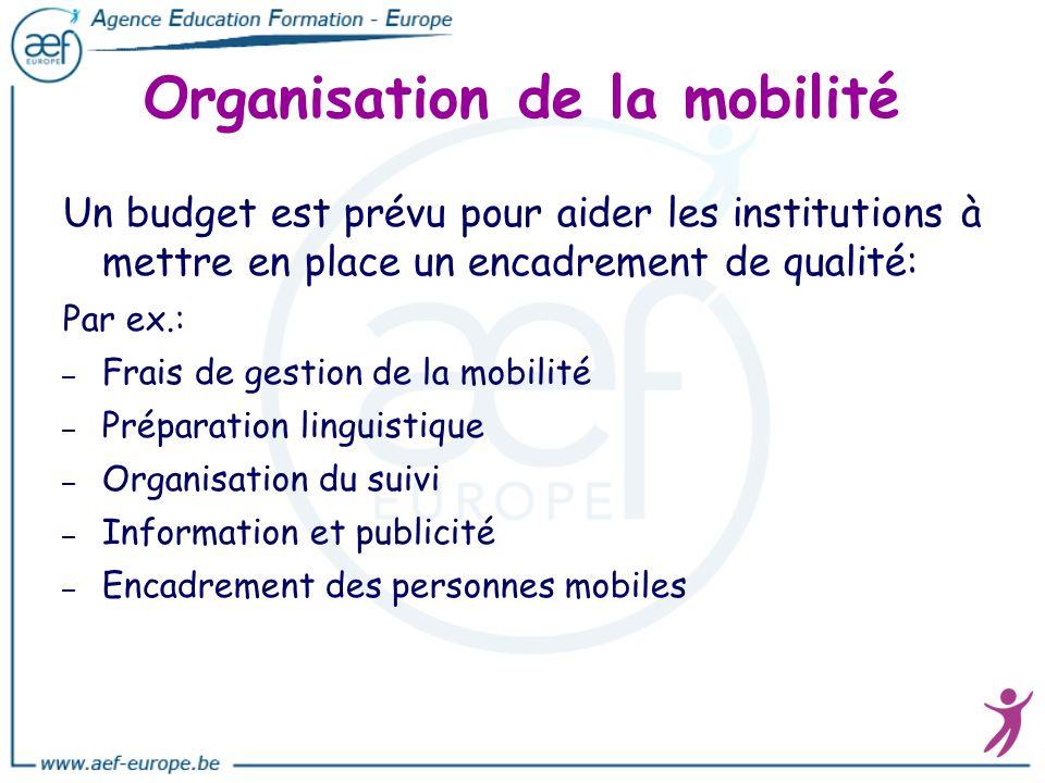 Organisation de la mobilité Un budget est prévu pour aider les institutions à mettre en place un encadrement de qualité: Par ex.: – – Frais de gestion