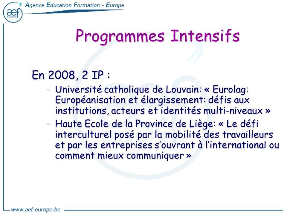 Programmes Intensifs En 2008, 2 IP : –Université catholique de Louvain: « Eurolag: Européanisation et élargissement: défis aux institutions, acteurs e