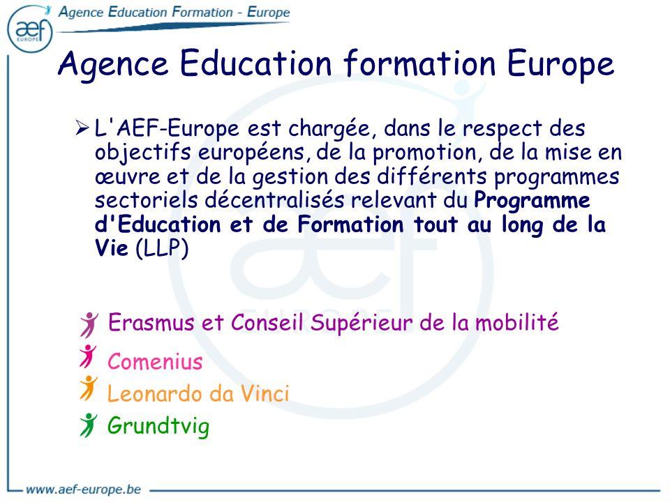 Agence Education formation Europe L'AEF-Europe est chargée, dans le respect des objectifs européens, de la promotion, de la mise en œuvre et de la ges
