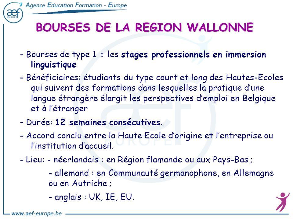 BOURSES DE LA REGION WALLONNE - Bourses de type 1 : les stages professionnels en immersion linguistique - Bénéficiaires: étudiants du type court et lo