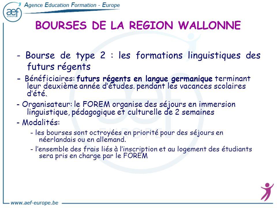 BOURSES DE LA REGION WALLONNE - Bourse de type 2 : les formations linguistiques des futurs régents. - Bénéficiaires: futurs régents en langue germaniq