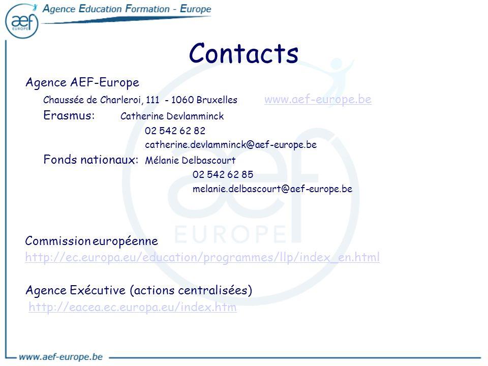 Contacts Agence AEF-Europe Chaussée de Charleroi, 111 - 1060 Bruxelles www.aef-europe.be www.aef-europe.be Erasmus: Catherine Devlamminck 02 542 62 82