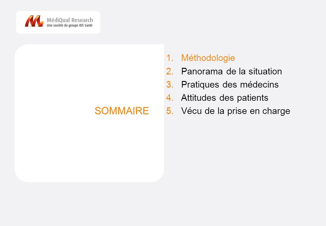 2 SOMMAIRE 1.Méthodologie 2.Panorama de la situation 3.Pratiques des médecins 4.Attitudes des patients 5.Vécu de la prise en charge