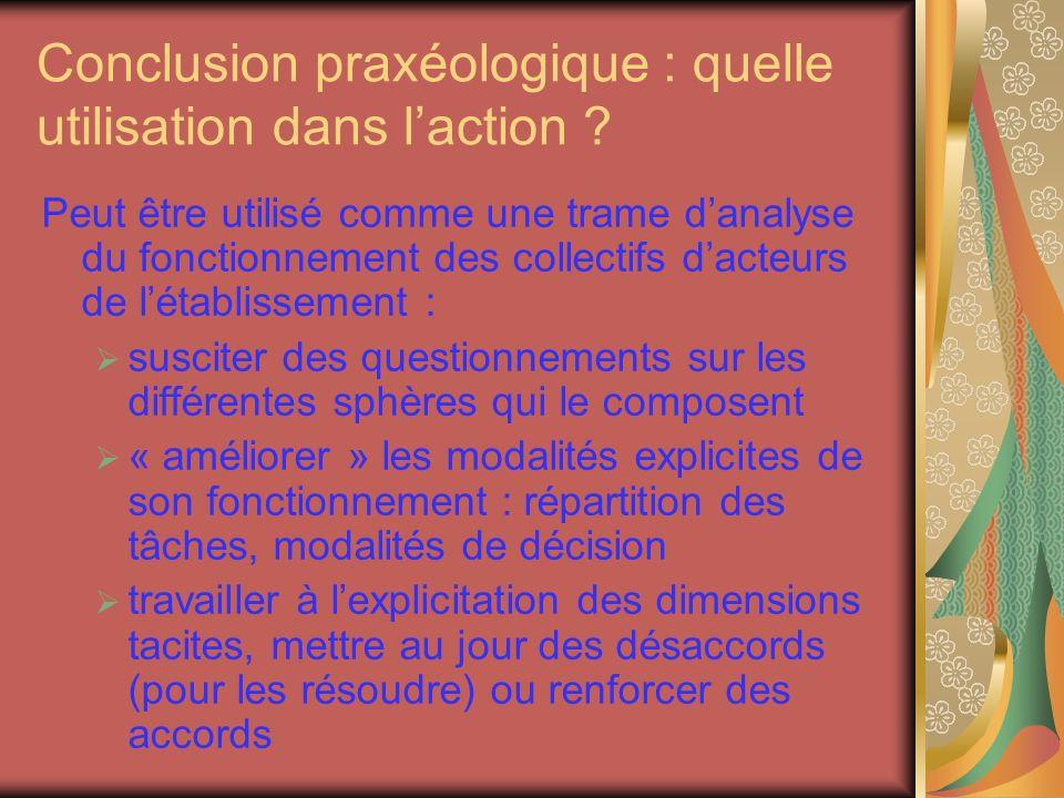 Conclusion praxéologique : quelle utilisation dans laction .
